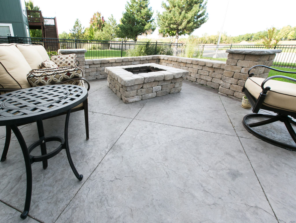 Stamped Concrete Patio Firepit