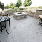 Stamped concrete fire pits for your patio and other decorative concrete designs by Aesthetic Concrete Designs.