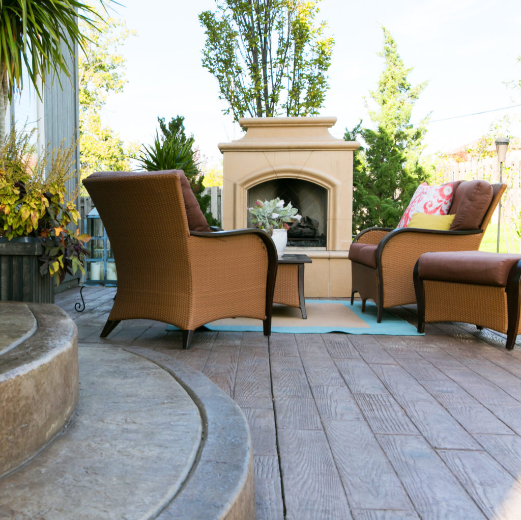 Your outdoor living space could become your new favorite room with beautiful stamped concrete from Aesthetic Concrete Designs.